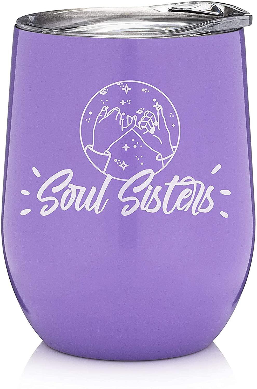 Soul Sisters 12oz Wine Tumbler, Best Friends, Friendship Gifts for Women, Long Distance Friend, BFF Gifts, Sister Gifts from Sister, Daughter Gifts