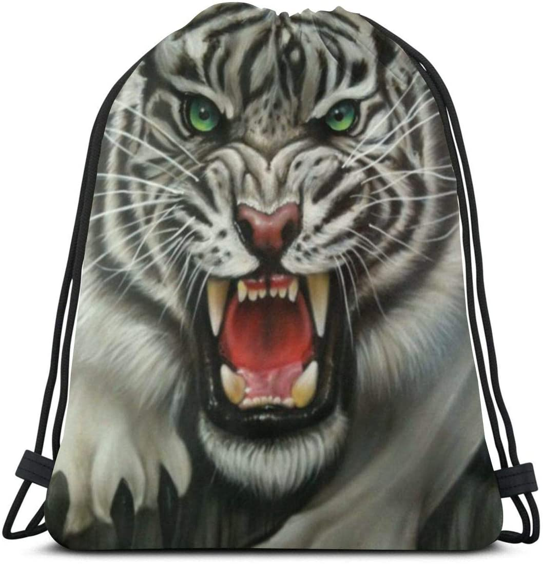 Drawstring Backpack Bags¡ê?Ferocious Tiger Sport Gym String Storage Sackpack
