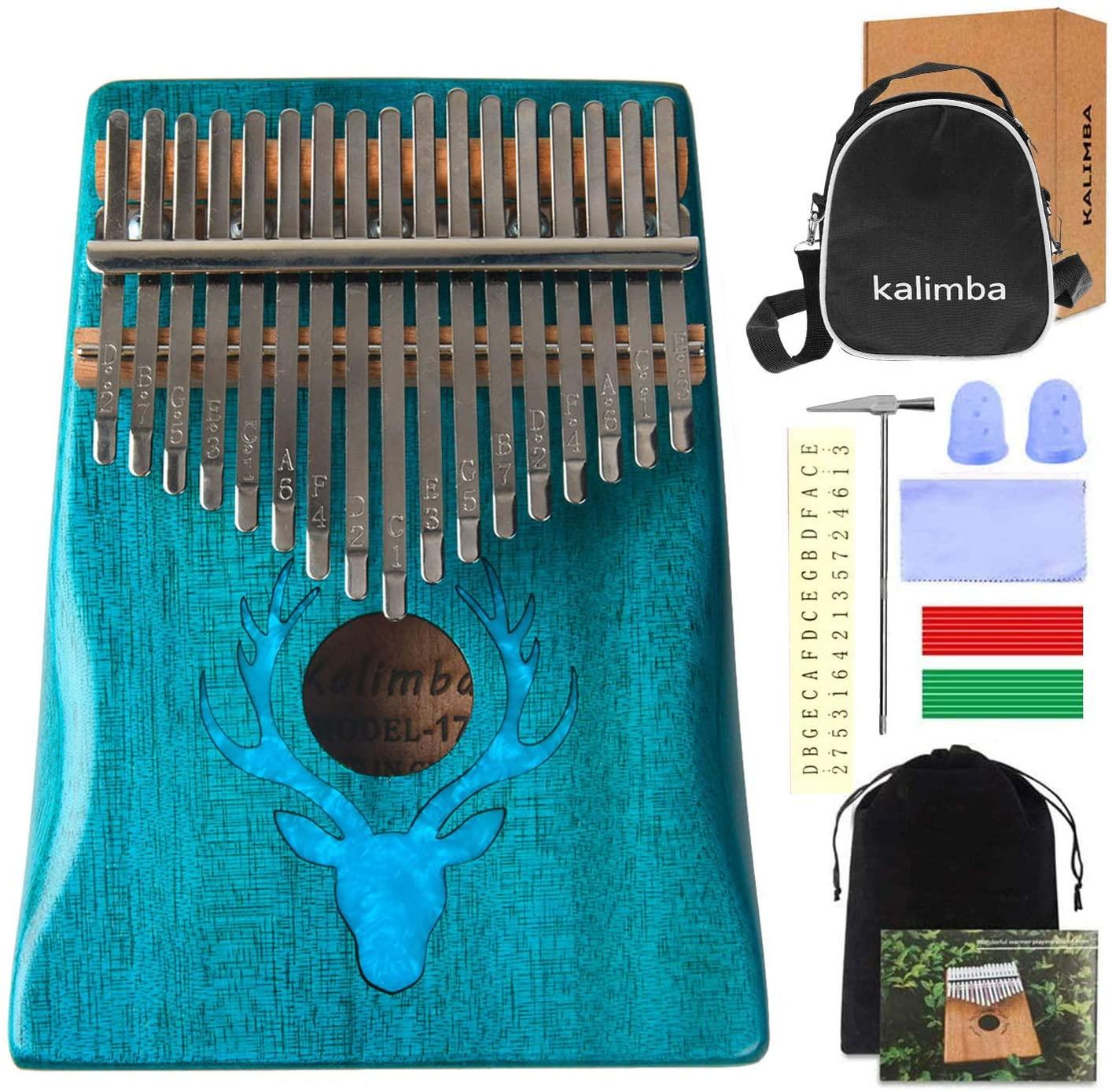 Kalimba Thumb Piano 17 Keys Portable Mbira Sanza Finger Piano Mahogany Wood Body Animal Pattern Gifts for Kids and Adults Beginners (Style B)