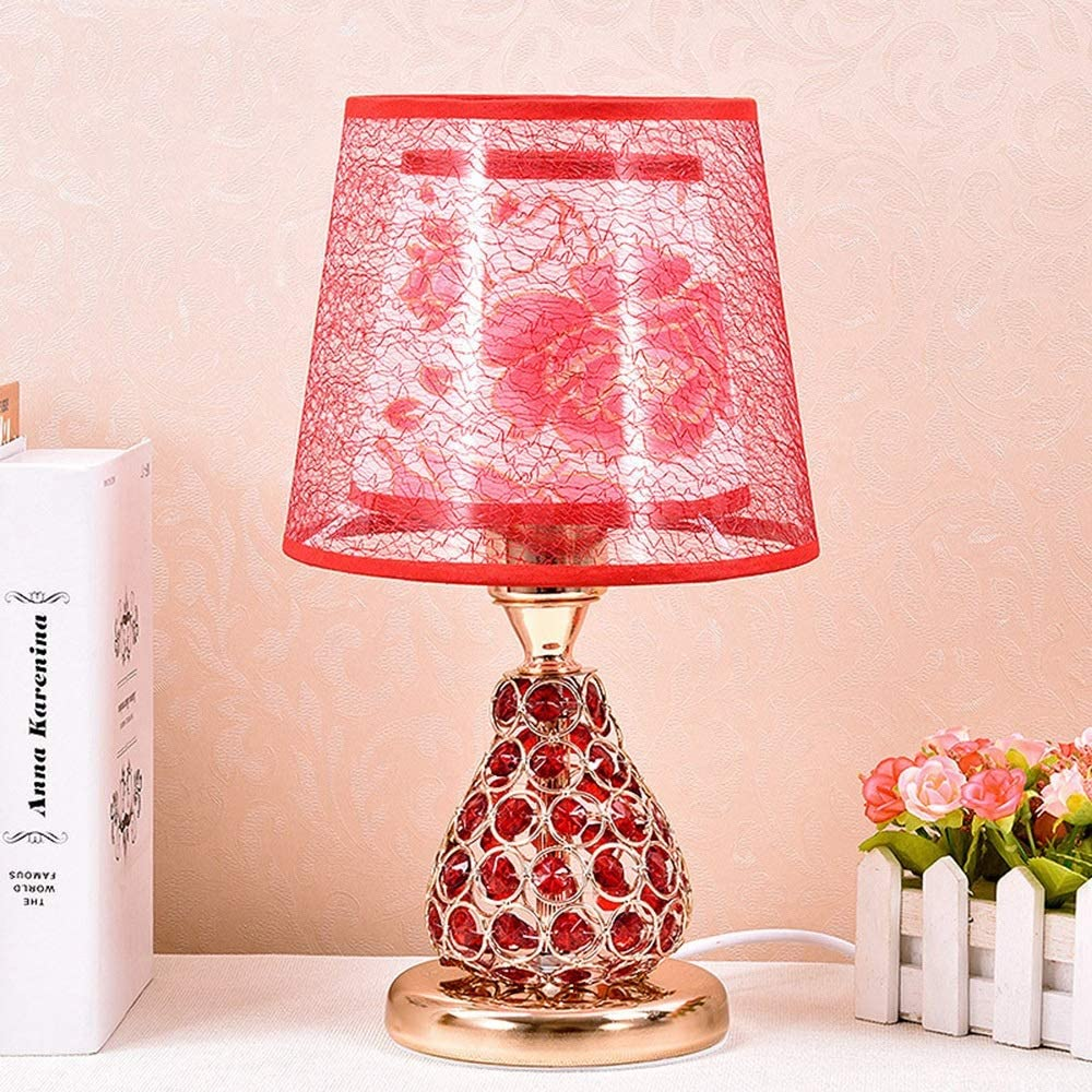 Creative Crystal Table Light Room Living Room Bedroom Bedside Lights Wedding Long Bright Lights Warm LED Table Lights Well-Made (Color : Red)