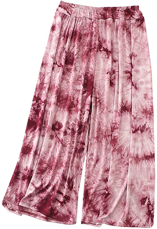 AOHITE Women's Tie Dye Print Casual Wide Leg Long Pants Elastic Waist Drawstring Sweatpants TM