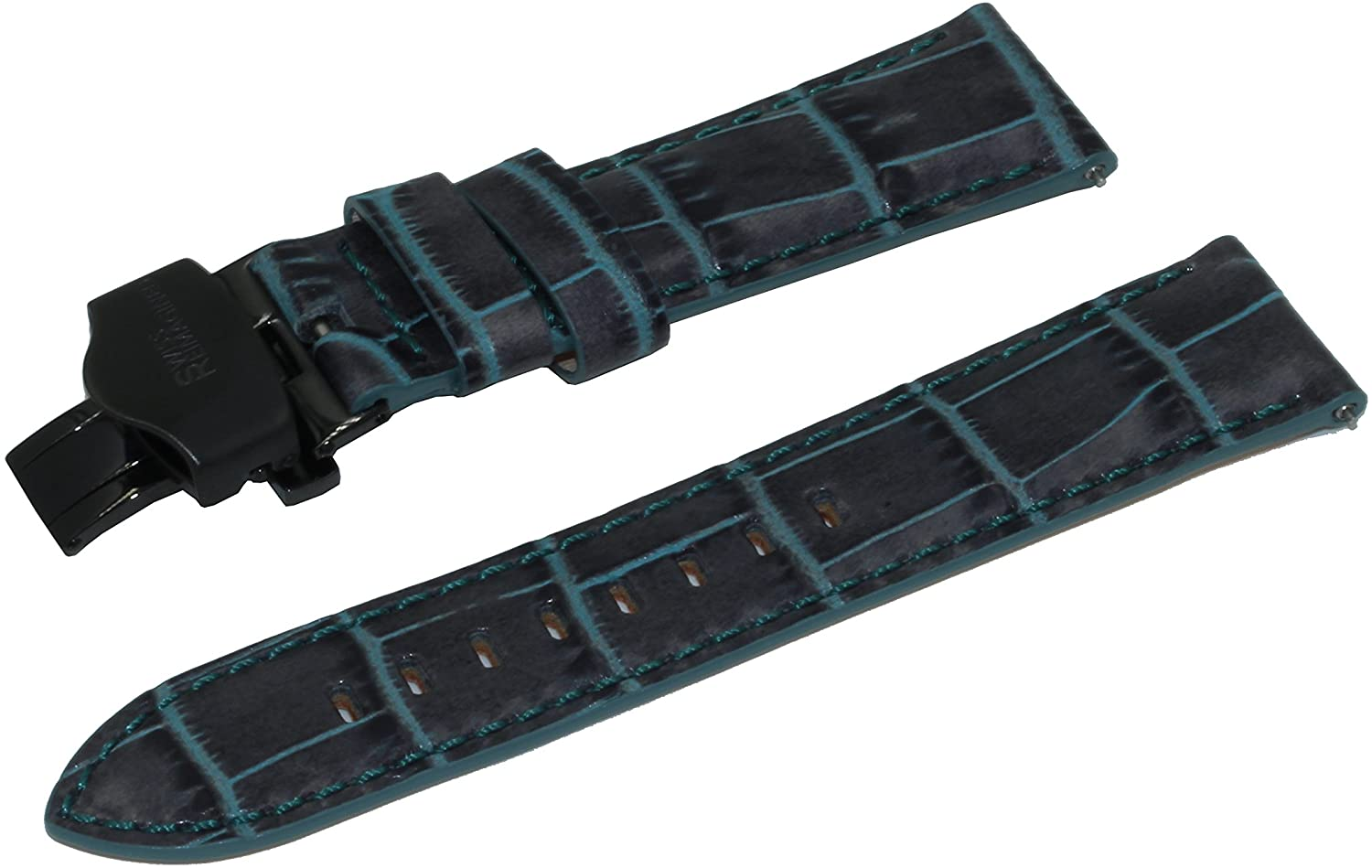SWISS REIMAGINED Crocodile Print Real Leather Watch Band Strap with Deployment Buckle