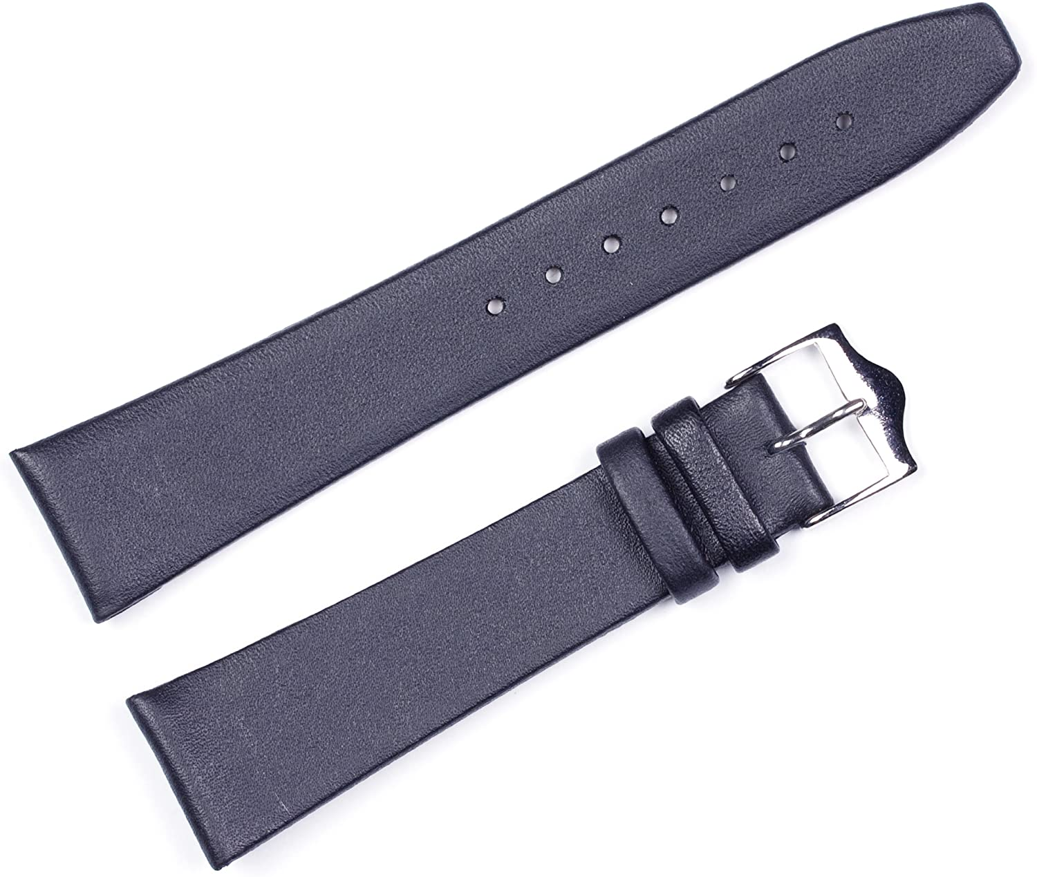 Calf Leather Watch Band (Flat) Black 19mm Watchband - by deBeer