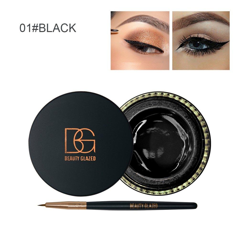Taykoo Eyeliner Gel Waterproof, Water-proof and Smudge-proof 2 in 1 Eyeliner Gel Eyes Makeup Tool
