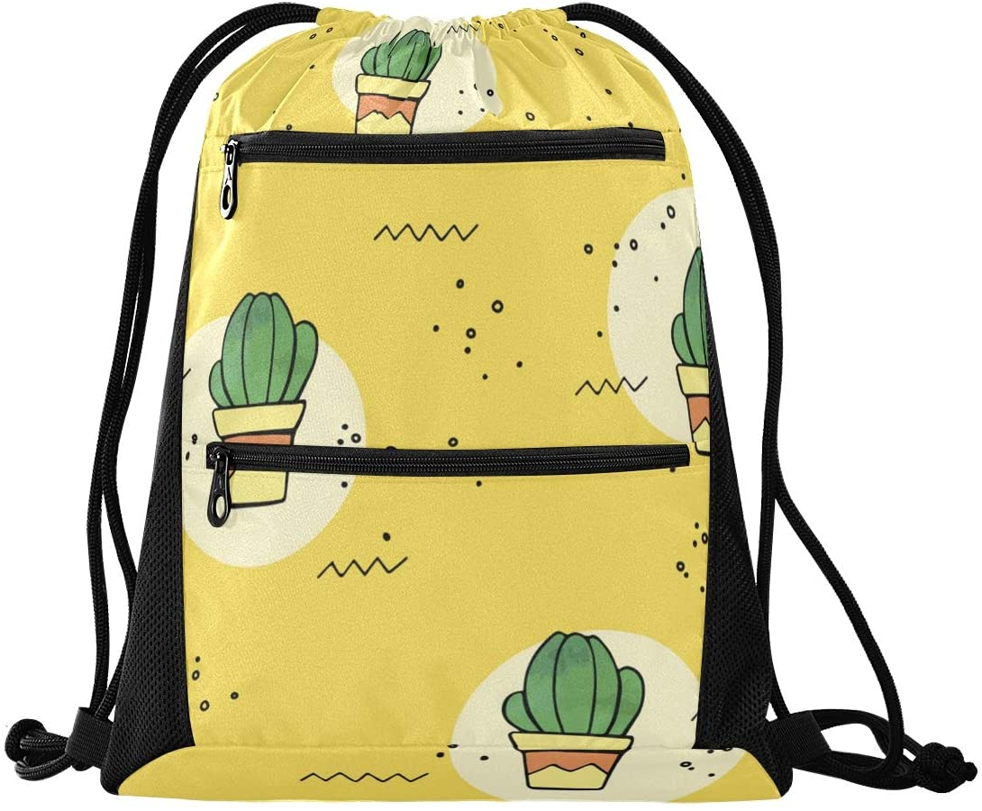 Drawstring Bag Tropical Cactus Flower Lightweight Gym Sackpack for Sports & Workout with Zipper Mesh Pockets