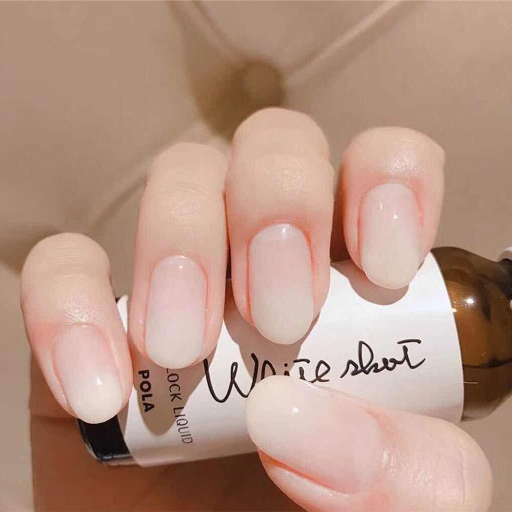 Yizaca Glossy Press on Nails White Short Oval Fake Nails Full cover Artificial False Nail for Women and Girls 24PCS