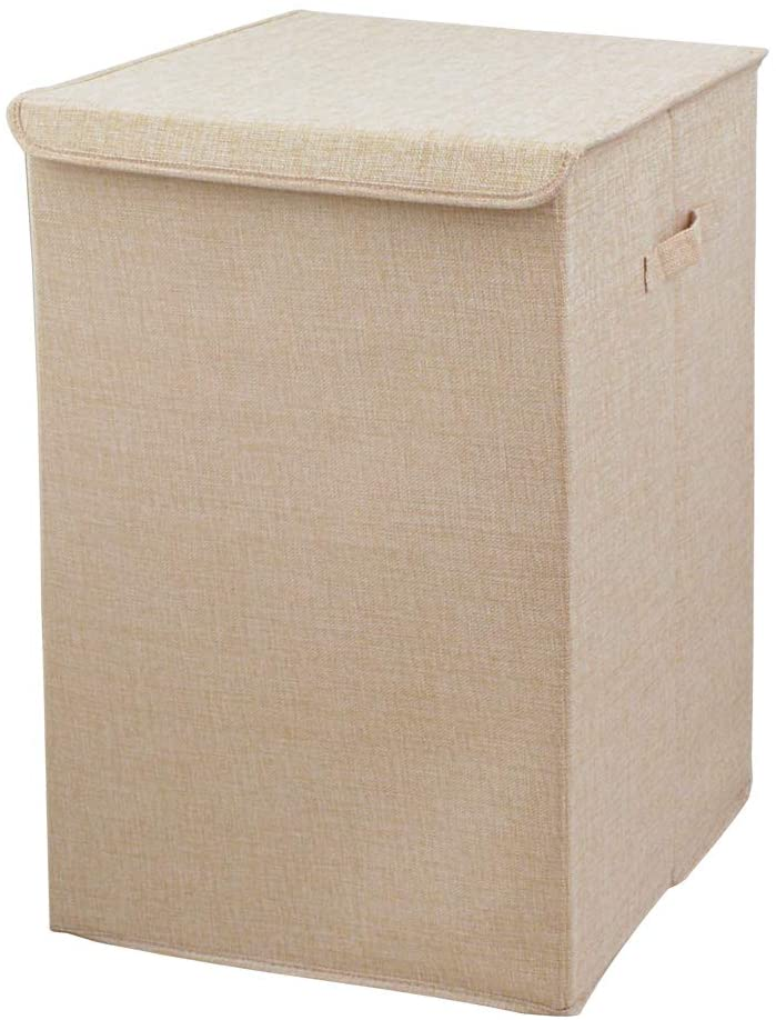 Nicesail Laundry Hamper with Lid and Handles, Fabric Beige Clothes Basket of Large Size, Mildew and Waterproof Laundry Bag for Easy Move
