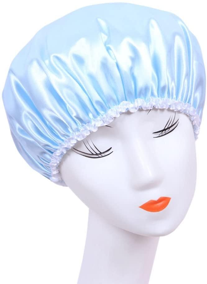 Mlotus Waterproof Elastic Shower Cap Bath Hat Lovely Double Layer Reusable Bath Caps for Women Blue,Pack of 2