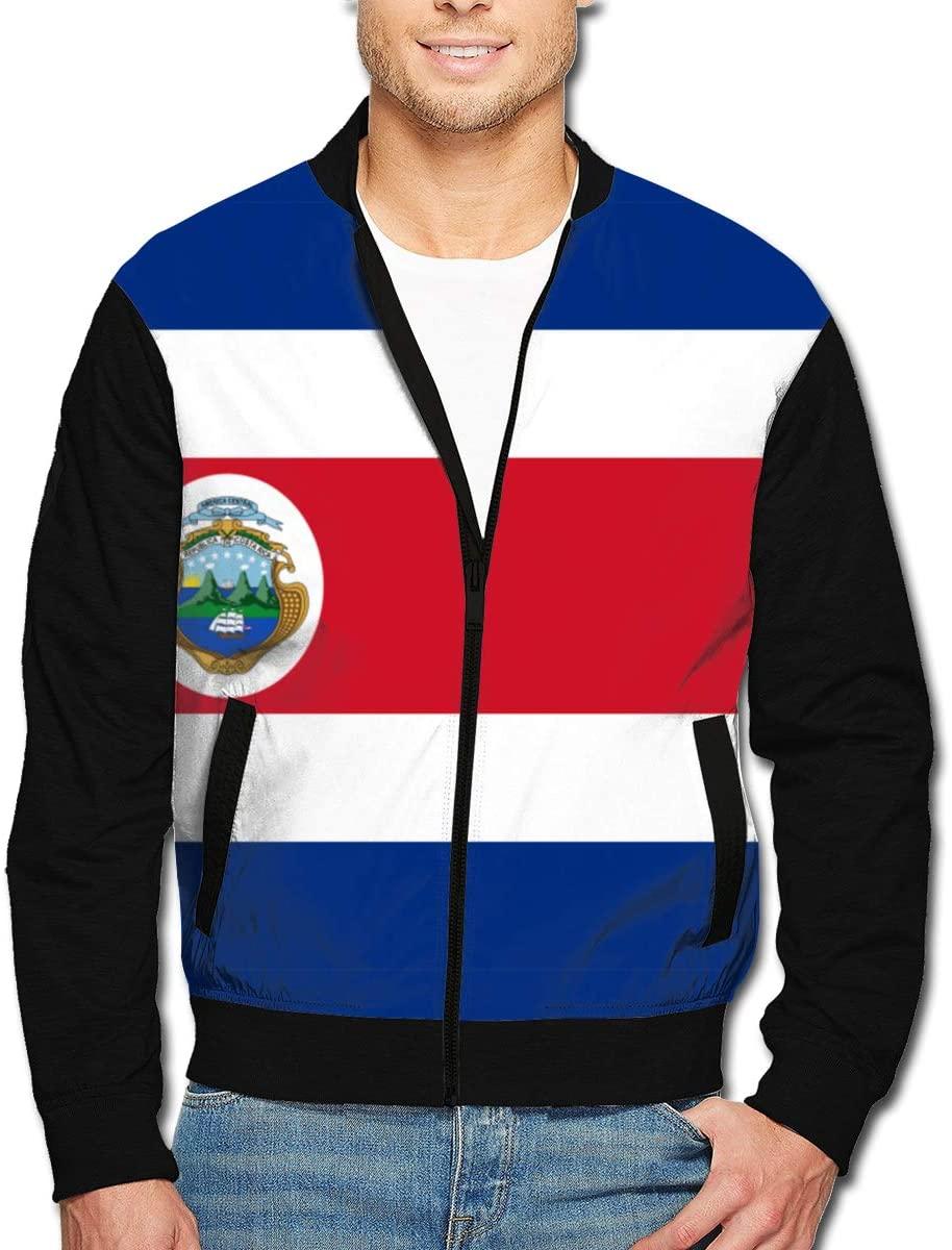 Yongchuang Feng Men's Bomber Jacket Costa Rica Flag Aviator Jacket Bike Motorcycle Coat