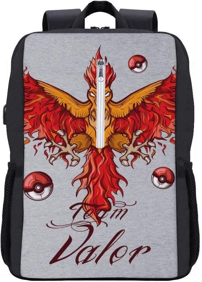 Monster of The Pocket Team Valor Moltres Backpack Daypack Bookbag Laptop School Bag with USB Charging Port