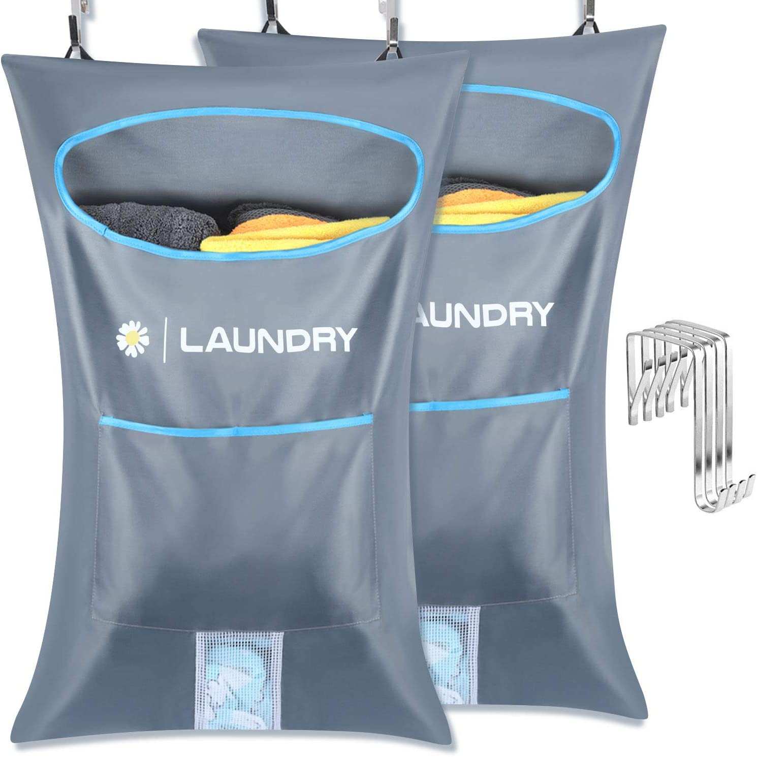 Lemecima 2PCs Laundry Bags,Hanging Laundry Hamper Bag, Clothes Hamper Laundry with 4 PCs Free Adjustable Stainless Steel Door 4 PCs Suction Cup Hooks, for Holding Dirty Clothes and Saving Space
