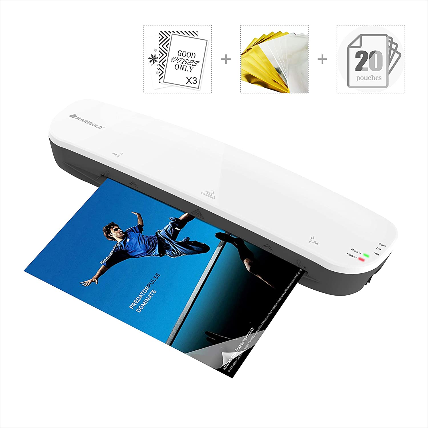 9-inch Laminator Machine Foil Application - MARIGOLD Thermal Laminating Machine with 20 laminating sheets / pouches, 3 tags and some reactive gold foil sheets (LM401)
