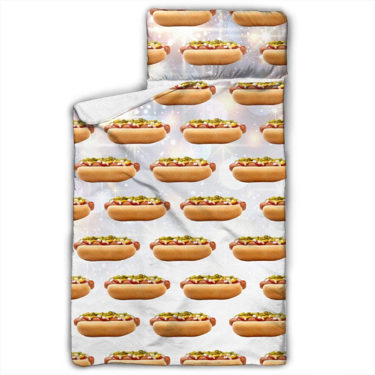 Yuyuy Toddler Nap Mat Hot Dog Children Sleeping Bag with Pillow for Preschool, Daycare 50 X 20 Inches