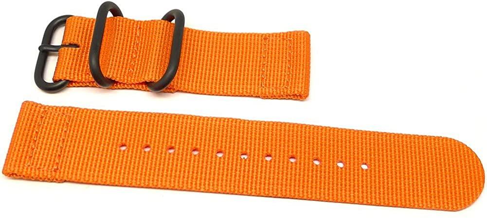 DaLuca Two Piece Ballistic Nylon Watch Strap - Orange (PVD Buckle) : 26mm