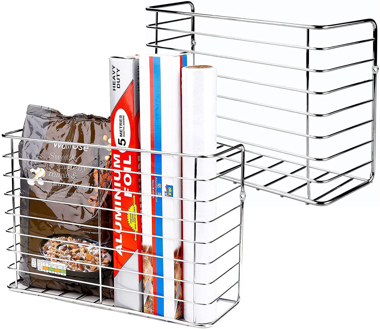 2 Pack Wall Door Mount Kitchen Wrap Organizer Rack,Cabinet Door/Pantry door/Wall Mount Kitchen Storage Organizer Basket