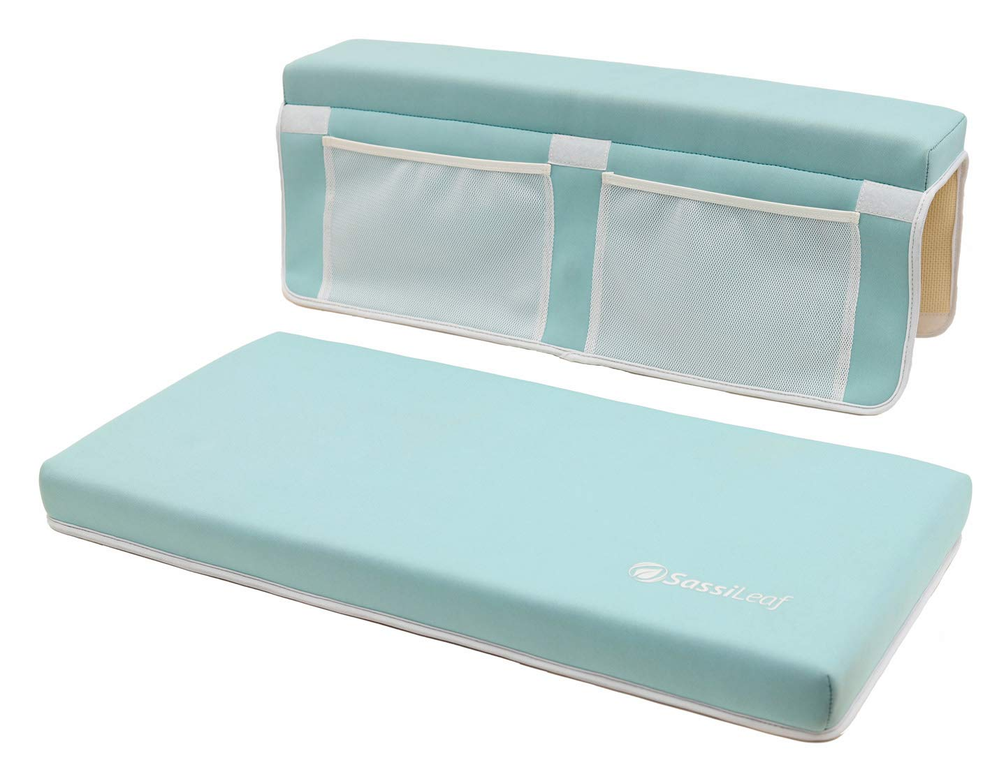 SassiLeaf Bath Kneeler and Elbow Rest - Premium - Extra Wide, Extra Thick Pads - for Baby and Pet Baths (Cool Mint)