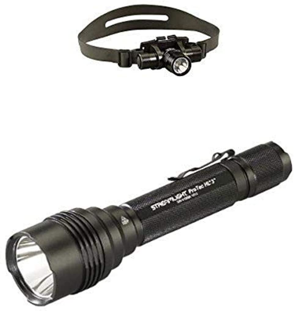 Streamlight ProTac HL 3 1,100 Lumen Professional Tactical Flashlight with High/Low/Strobe w/ 3x CR123A Batteries and ProTac HL Headlamp
