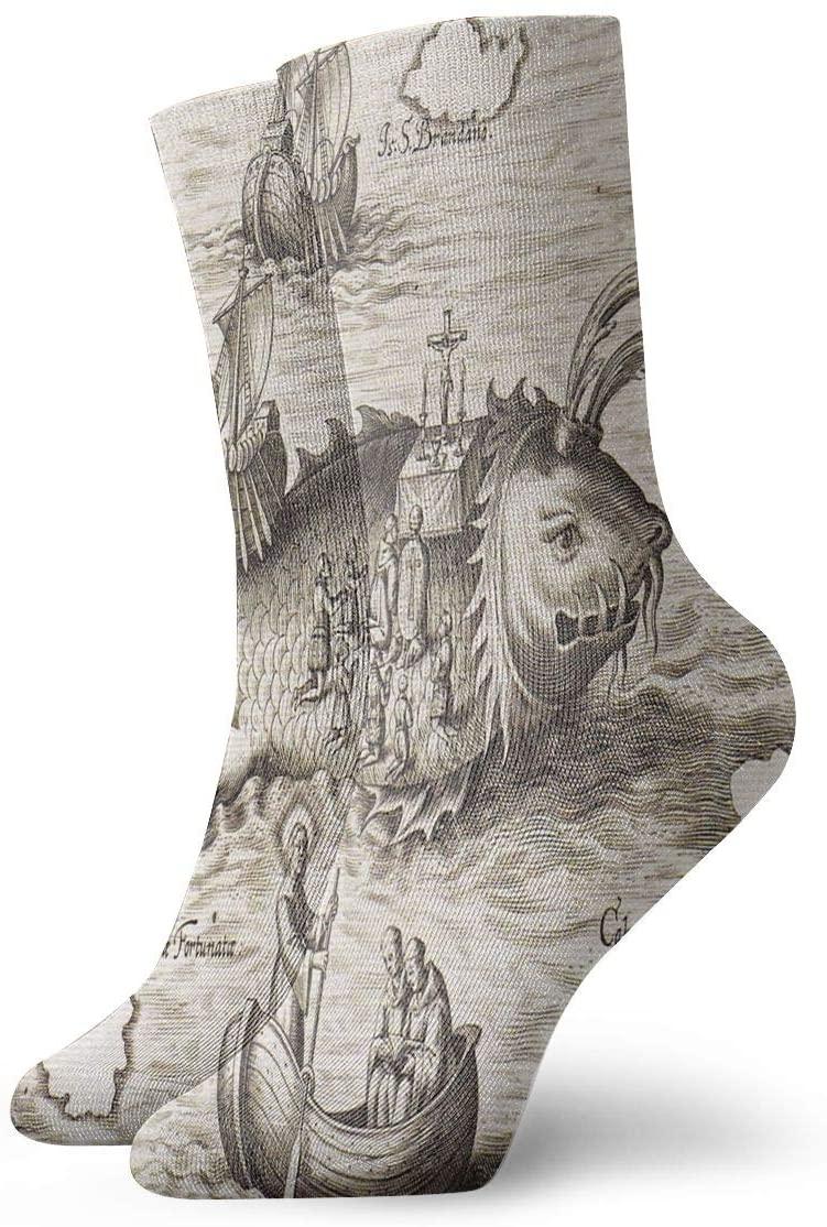 Crew Socks Old Nautical Chart Designer Unisex Casual Stocking Decor Sock Clearance for Girls
