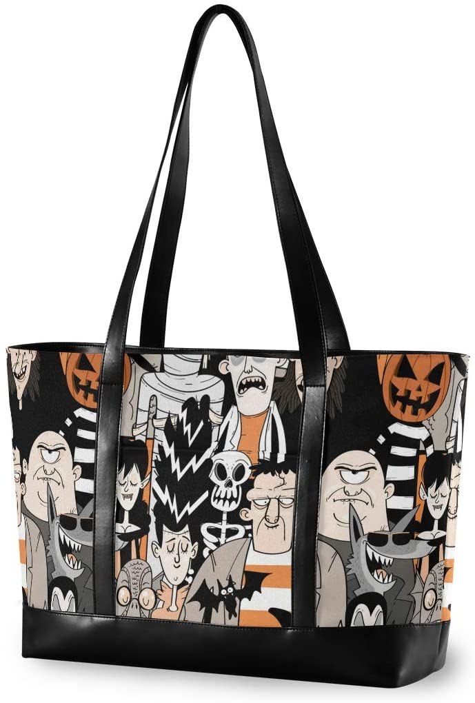 Halloween Large Woman Laptop Tote Bag - Halloween Monsters Zombie Pumpkins Canvas Shoulder Tote Bag Fit 15.6 Inch Computer Handbag for Travel Hiking