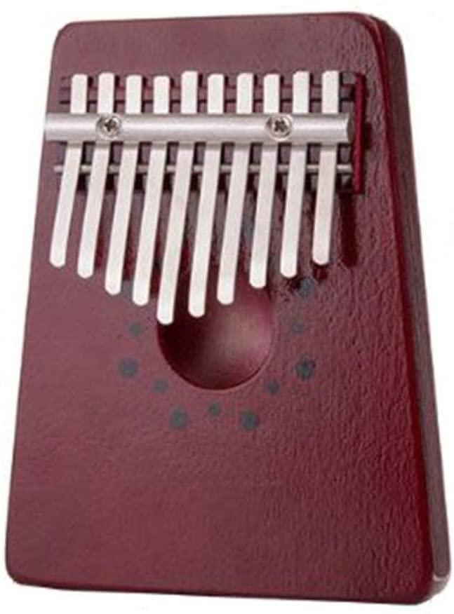 Red 10 Keys Kalimba Thumb Piano Traditional Musical Instrument Portable,B