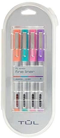 TuL Fine Liner Felt-Tip Pens, Fine Point, 1.0 mm, Silver Barrels, Assorted Inks, Pack Of 4 Pens