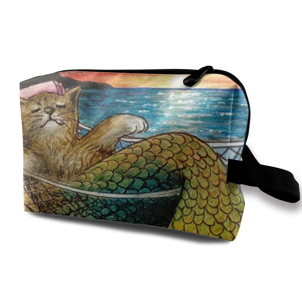 Funny Mermaid Cat On The Beach Toiletry Bag Multifunction Cosmetic Bag Portable Makeup Pouch Travel Organizer Bag For Women Girls