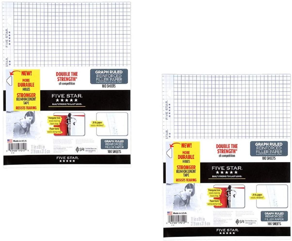 Five Star Filler Paper, Graph aZcbu Ruled, Reinforced, Loose-Leaf, 11 x 8 1/2