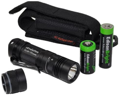 Sunwayman V11R U2 Max 500 Lumen Tactical LED Flashlight, AP05 AA Extension, Holster & EdisonBright AA & CR123A Batteries