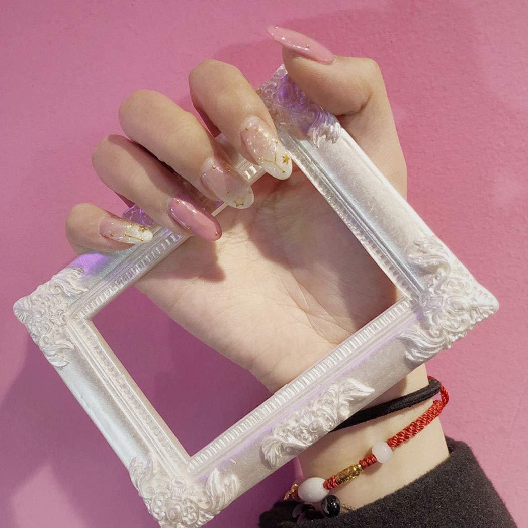Edary Fake Nails Pink Star Oval False Nails Tips Art 24pcs Press on Nails for Women