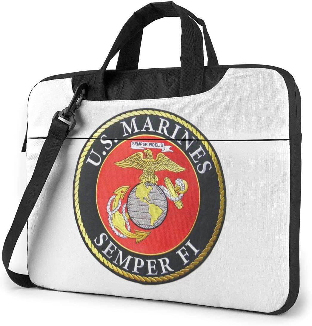 N/C USMC Marine Waterproof Laptop Shoulder Messenger Bag, Computer Protective Case, Briefcase, Unisex, Exquisite Style.14 Inch