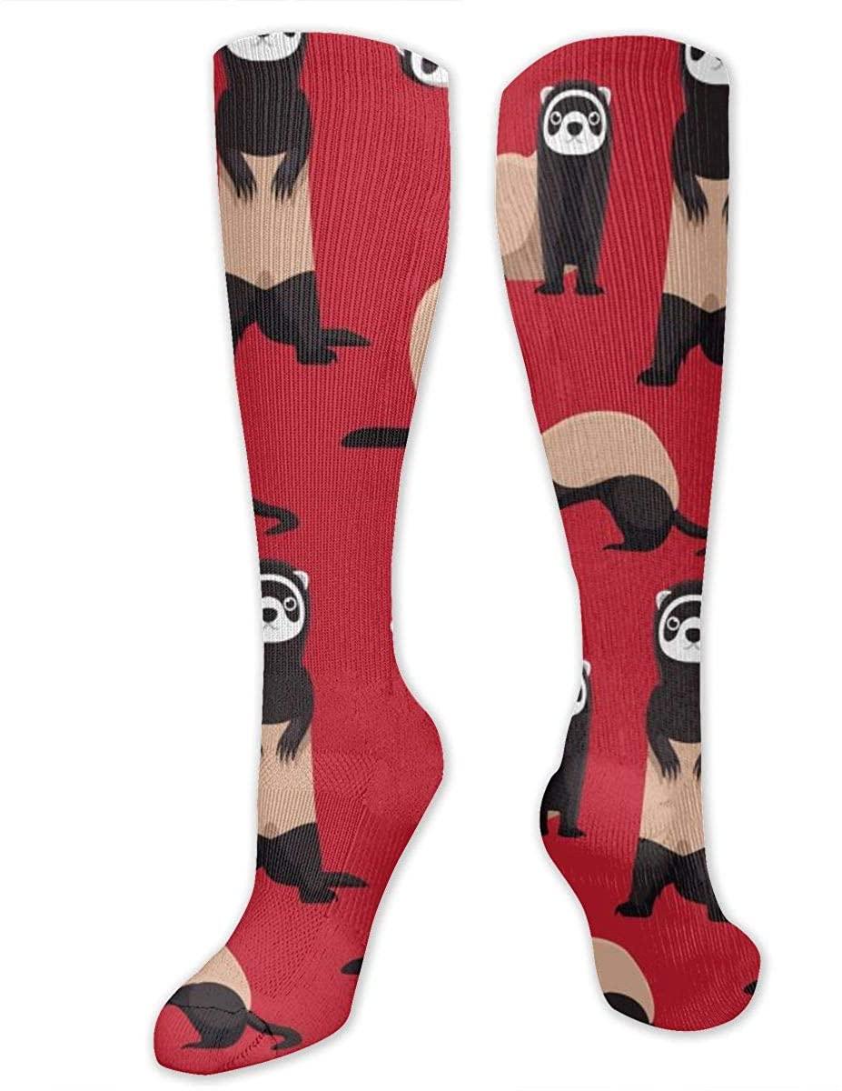 Cute Ferret Red Athletic Socks Thigh Stockings Over Knee Leg High Socks