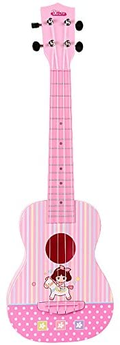 BAOLI Light Pink Color Plastic Beautiful Melody Ukulele Toy with Accurate Intonation Excellent String Opening Tuning Keys Arch-Shaped Back Panel