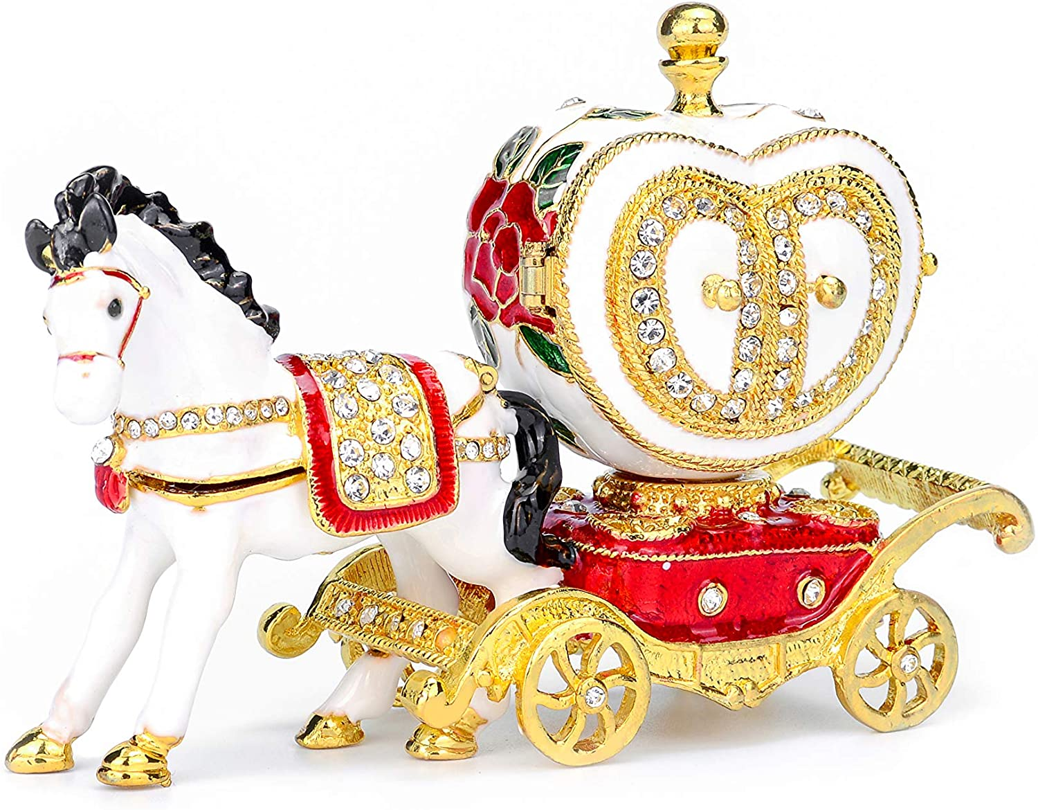Furuida Love Heart Carriage Jewelry Trinket Box with Hinged Enameled Crystal Ornaments Gift for Home Decor