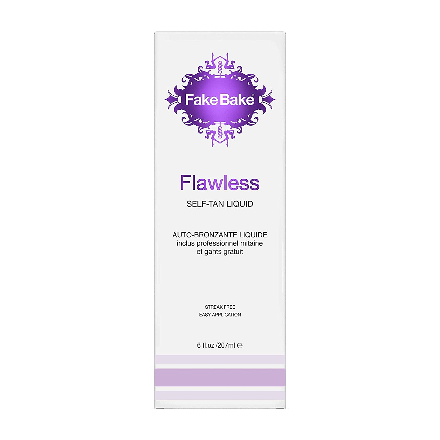 Fake Bake Flawless Self-Tanning Liquid | Streak-Free, Long-Lasting Sunless Natural Glow For All Skin Tones | Black Coconut Scent | Includes Professional Tanning Mitt For Easy Application | 6 oz