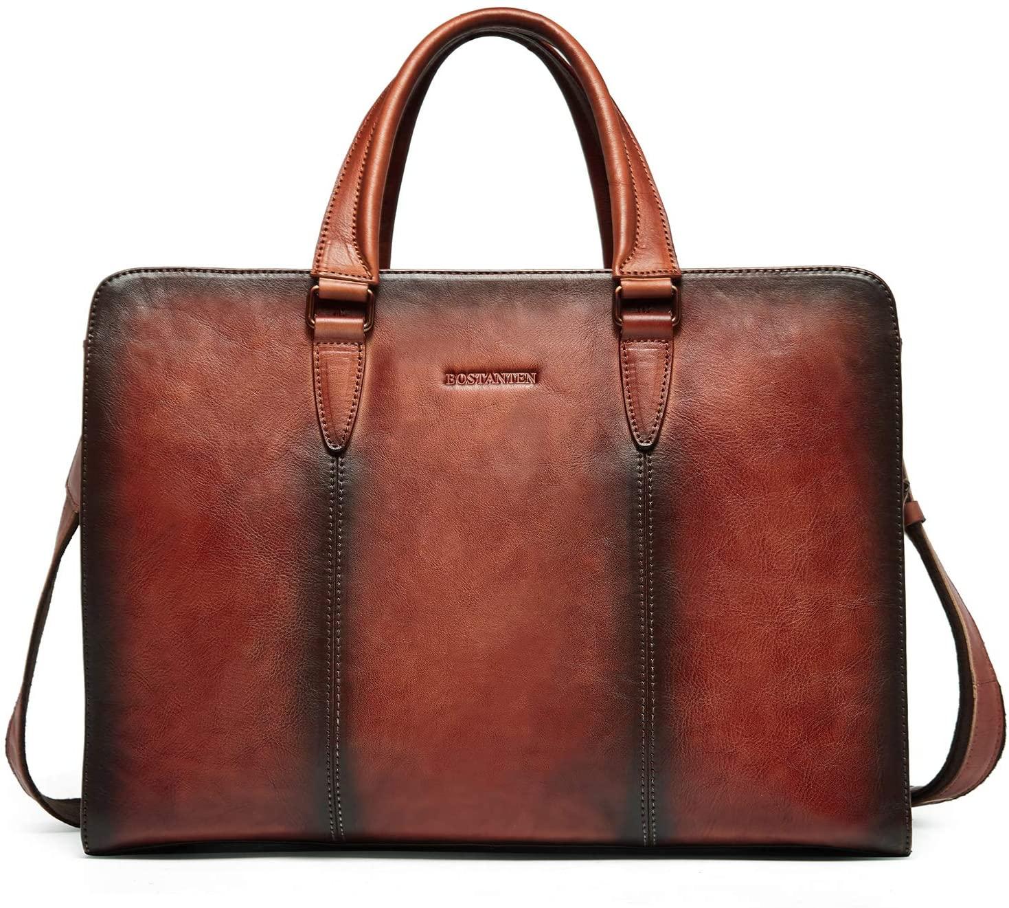 BOSTANTEN Leather Briefcase Vintage Shoulder Laptop Cross body Business Bag for Women & Men