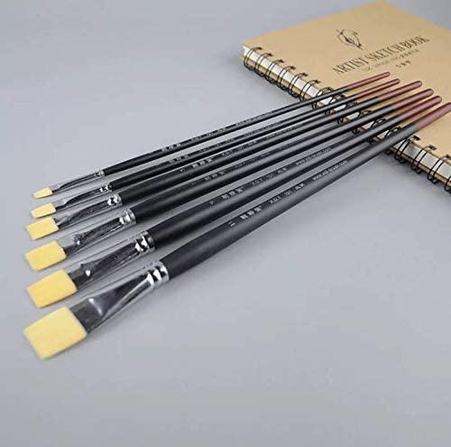 XDT 101 Square Wash Paint Brush Artist Painting Brushes Set 6 Piece #1#3#5#7#9#11 Premium Nylon,Canvas Painting Acrylic Paint Oil Paint Top Quality Extra Long Handle Brushes