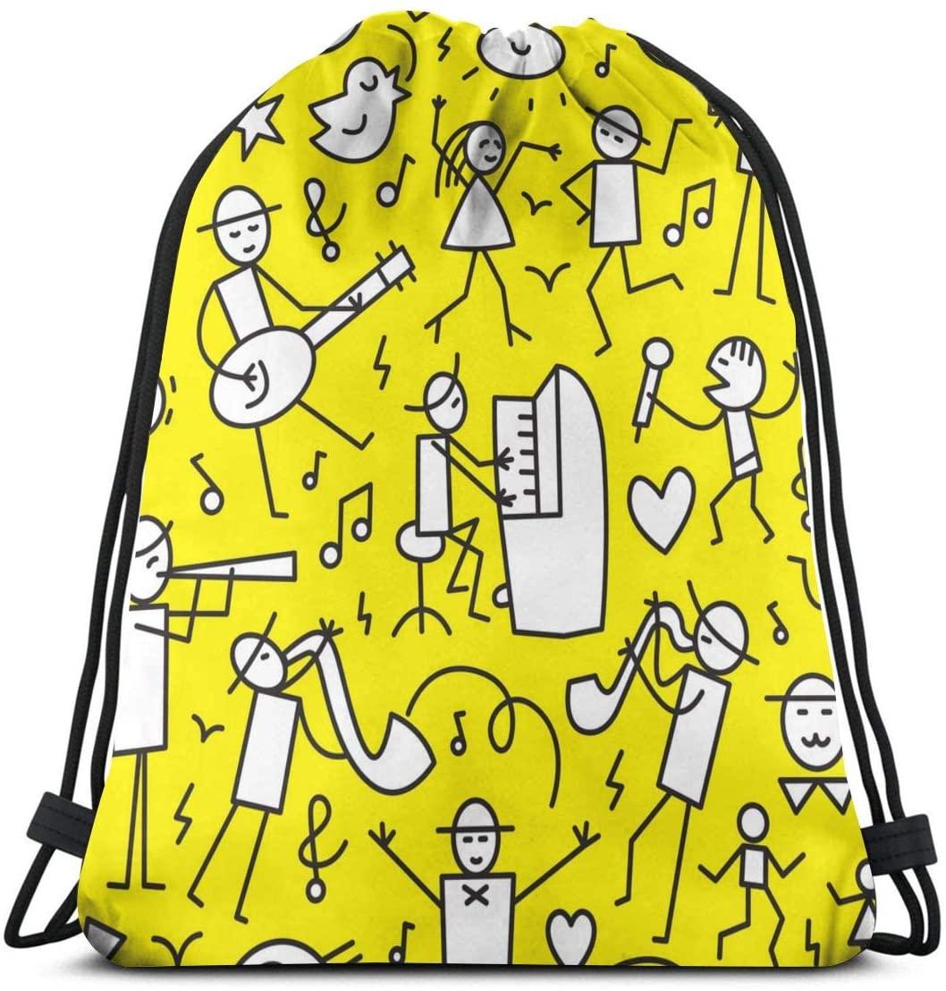 Jazz Musicians Abstract Piano Man Yellow Unisex Outdoor Rucksack Shoulder Bag Travel Drawstring Backpack Bag