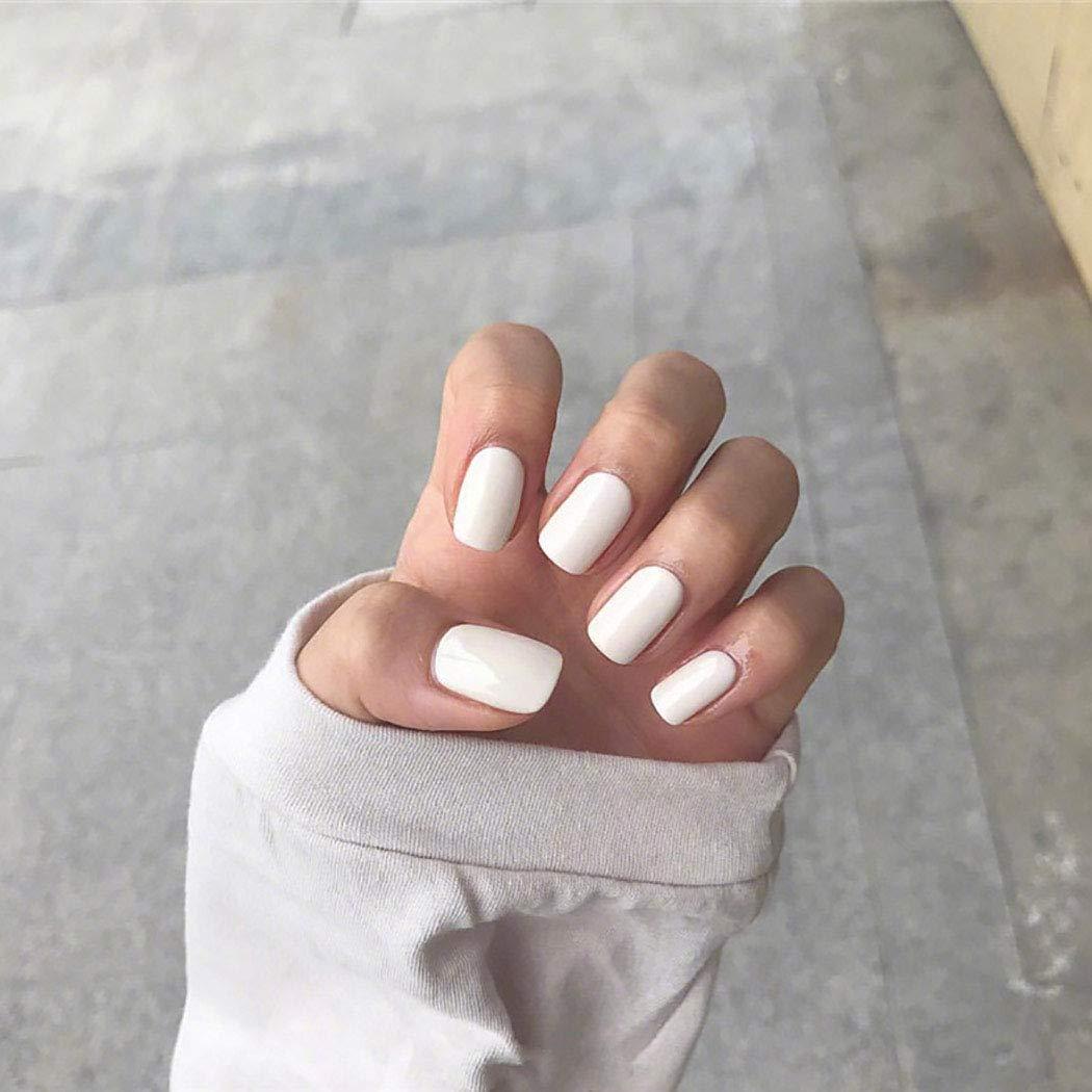 Awanka Glossy Press on Nails White Long Fake Nails Square Full Cover Acrylic False Nails Tip for Women and Girls(24Pcs)