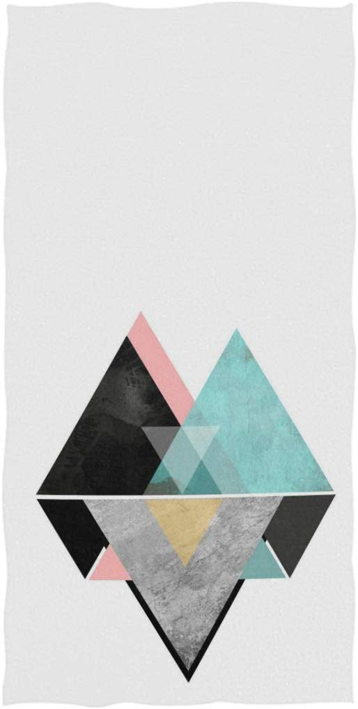 Stylish Marble Art Triangles Pattern Soft Highly Absorbent Guest Large Home Decorative Hand Towels Multipurpose for Bathroom, Hotel, Gym and Spa, 13.7x27.5 Inches