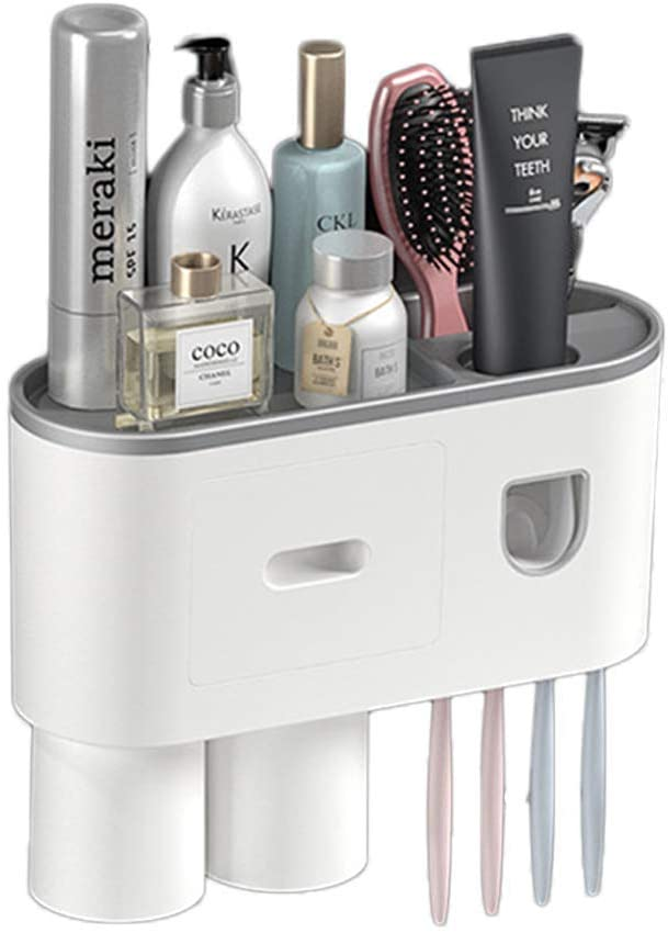 2020 New Toothbrush Holder, Wall Mount Toothpaste Squeezer Dispenser and Anti-dust Toothbrush Holder, Multifunctional Space Saving Bathroom Storage Organizer (2 Cups 4 Brush Slots)