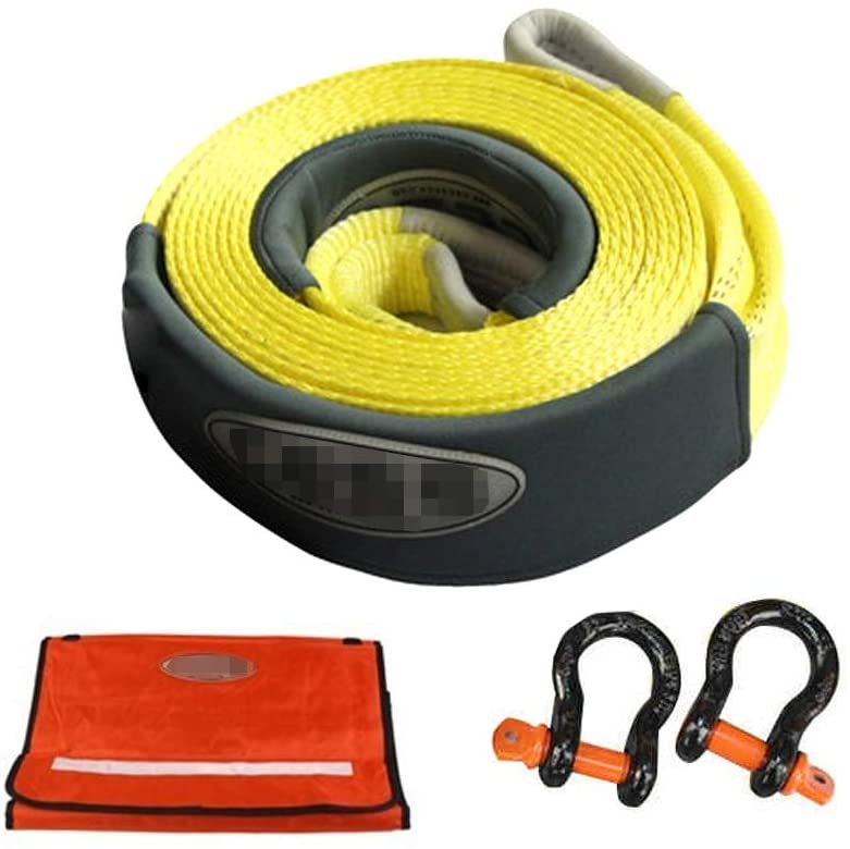 LPYMX Car Traction Rope 11000Ib Heavy Traction Rope, Traction Vehicle with a Length 9M with Reflective Strips Multifunctional Storage Bag Breakdown Assistance
