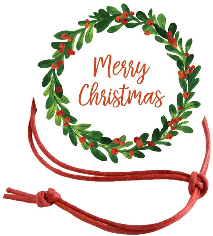Napkin Knots Christmas Holiday Napkin Ring Decoration - Merry Christmas Wreath (Pack of 10)