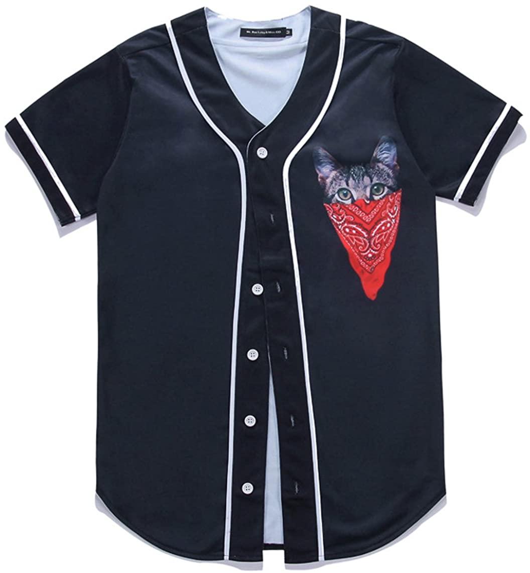 HOP FASHION Youth 3D Print Baseball Jersey Short Sleeve HOPM007-74-XL
