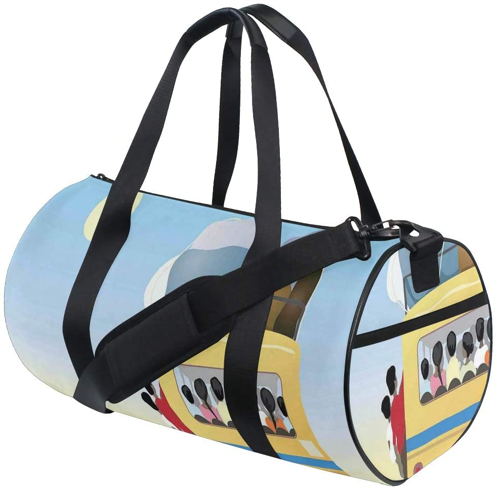 FAKAINU Travel Tote Duffel Bag Yellow Bus Full Of Passengers And Luggage Driving Asian Meadows Warm Spring Day Gym Bag Outdoor Travel Sports Shoulder Weekend Carry on Handbag