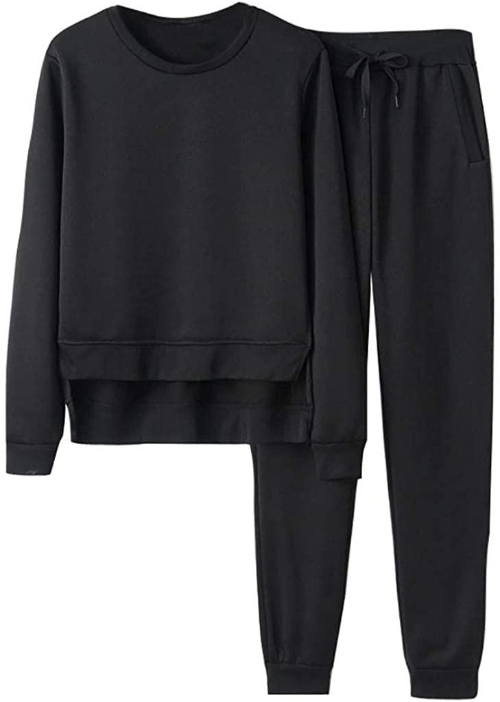 Fineday Women Casual Sport Sweatshirt Trousers Set Two-Piece Suit Crop Tops + Pants, Women Suits Sets