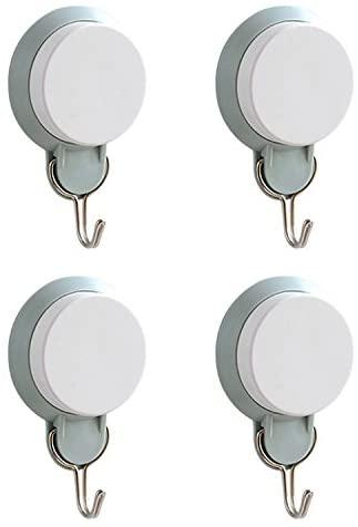 Detachable bathroom kitchen wall vacuum suction cup hook Grey green 4pcs