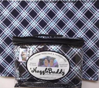 'NUGGLEBUDDY New! Microwavable Moist Heat & Aromatherapy Organic Rice Pack-Cold Pack. Cozy Navy Diagonal Plaid Flannel Infused with SWEET LAVENDER Aromatherapy! Great Gift Idea!