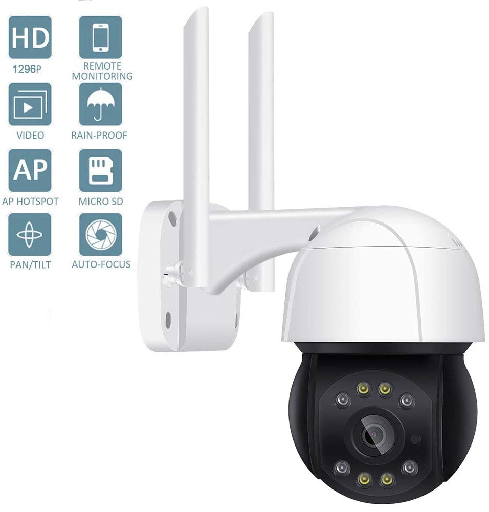 DBM-TOR UltraHD Outdoor Security IP Camera Wireless Home Security Surveillance Camera with Mic/Audio, 5-Megapixel, NightVision, IP66 Weatherproof,1296P
