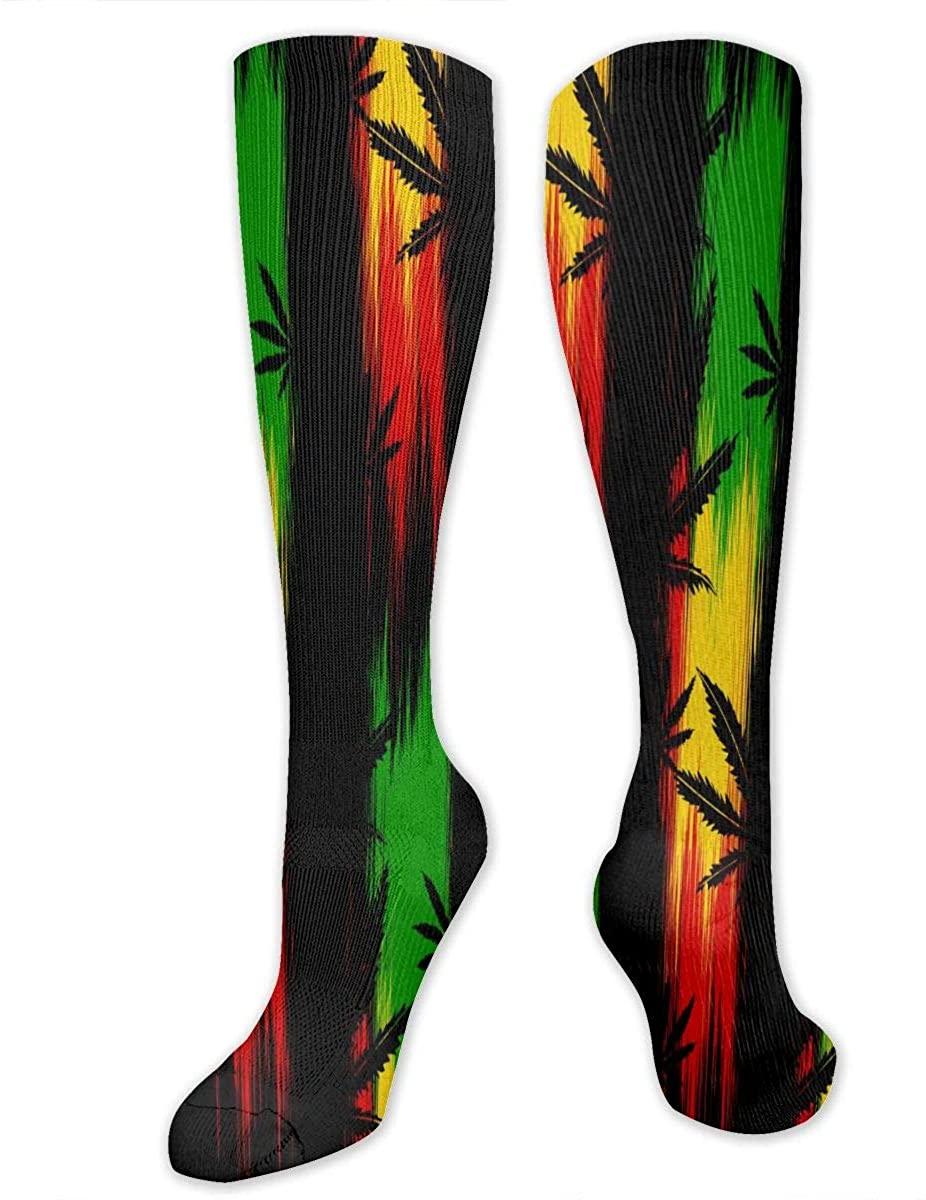Rastafarian Marijuana Athletic Socks Thigh Stockings Over Knee Leg High Socks