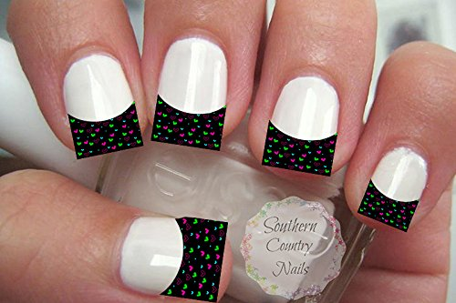 Black and Color Hearts French Tips Nail Art Decals